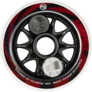 Powerslide Ersatzrolle Graphix LED Wheel rot-weiß 100 mm - 1 Stück